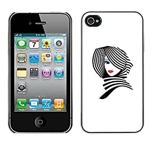 Omega Covers - Snap on Hard Back Case Cover Shell FOR Apple iPhone 4 / 4S - Lady White Black Stylish Lips