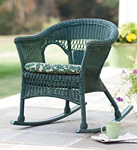 All Weather Resin Outdoor Everyday Wicker Rocker In Green Pat
