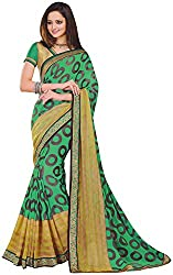 Ambica Lavnya Women's Chiffon And Marble Saree (Ambica Navya 3215_1, Green, Golden Colour)