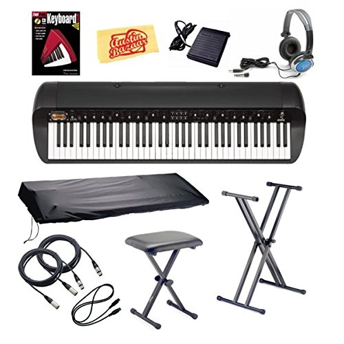 Korg Sv-1Bk 73-Key Stage Vintage Piano Bundle With Bench, Stand, Dust Cover, Sustain Pedal, Essential Cables Pack, Headphones, Instructional Book, And Polishing Cloth - Black