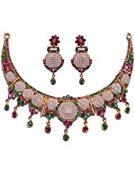 Handmade Pearl Ruby & Emerald Color Stone Studded Traditional Necklace Set