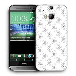 Snoogg Grey Floral White Printed Protective Phone Back Case Cover For HTC One M8