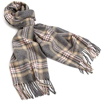 Amicale Men's 100% Cashmere Plaid Scarf, Gray/Camel, One Size