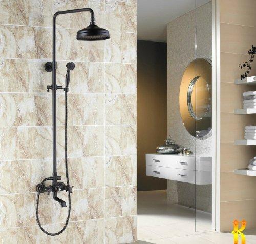 Luxury Oil Rubbed Bronze Bath Shower Faucet Set 8 Rain Shower Head