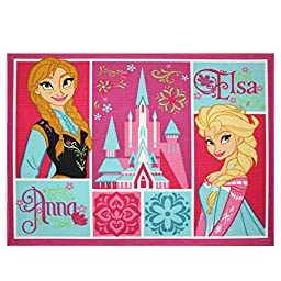 Disneys Frozen Elsa and Anna Patchwork Kids Area Rug - 39.5x50in. Brand New