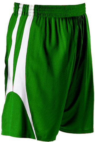 Alleson Athletic Youth Unisex Reversible Basketball Shorts , Kelly Green|White, S alleson athletic youth unisex reversible basketball shorts kelly green white s