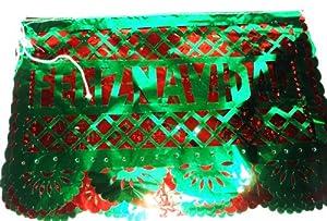 Feliz Navidad Metalic Papel Picado Red and Green