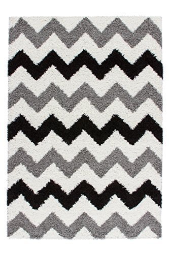 rug-modern-shaggy-rio-chevron-grey-cream-black-various-sizes-sale-50-80-cm-x-150-cm