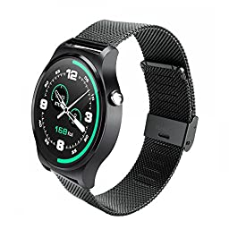 TURNMEON All Round IPS Display Touch Screen Smart Watch with Heartrate Monitor Waterproof Smartwatch Bluetooth4.0 for Android IOS iPhone Smartphone Sync Facebook Whatapp Twitter (Black))