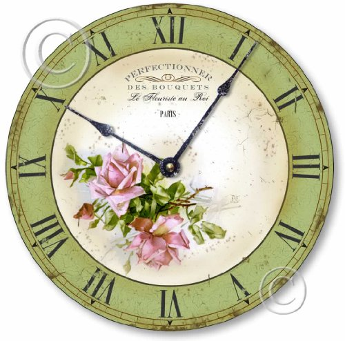 Item C2016 Vintage Style Pink Roses French Florist Clock