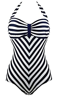 Cocoship Retro Navy White Striped One Piece Monokinis Chevron Lines Swimsuit(FBA)
