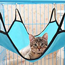 Luckygirls Multifunction Comfortable Cute Cat Kitten Animal Hammock Sleep Bed Pad Hanging Pet Cage (Blue)