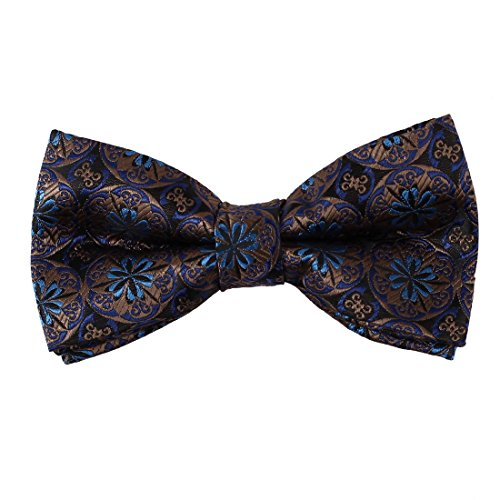 EBD7B01C Brown Blue Paisley Romance Accessories Woven Microfiber Pre-Tied Bow Tie For Work-Utility By Epoint