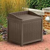 Suncast Resin Wicker 22 Gallon Storage Seat