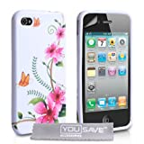 White / Multicoloured Pink Floral Butterfly Pattern Silicone Gel Case Cover For The Apple iPhone 4 / 4S With Screen Protector Film And Grey Micro-Fibre Polishing Clothby Yousave