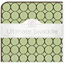 SwaddleDesigns Ultimate Receiving Blanket, Brown Mod Circles, Lime