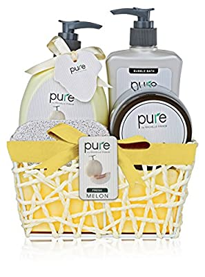 Luxury Bath & Body Spa Set. Best Holiday Gift Basket! Natural Melon