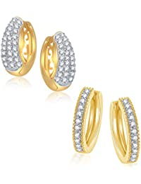Meenaz Earring Bali Hoop Jewellery Set Combo Gold Plated Cz In American Diamond For Girls &Women Com227