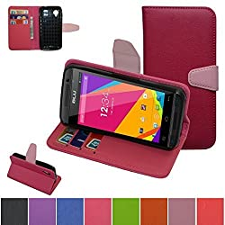BLU Dash Music II Case,Mama Mouth [Stand View] Folio Flip Premium PU Leather [Wallet Case] With Built-in Media Stand ID Credit Card / Cash Slots and Inner Pocket Cover Case For BLU DASH MUSIC II D330X, Rose Red