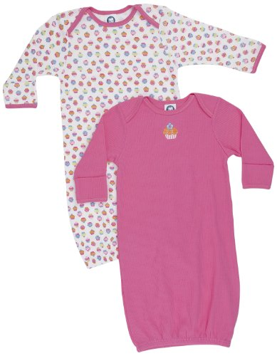 Gerber Baby-Girls  Cupcakes 2 Pack Lap Shoulder Gown, Pink/White, 0-6 Months