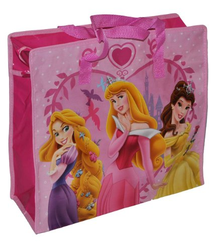 Shopper / Tragetasche / Umhängetasche mit Disney Prinzessin - Kindertasche Tasche Stoff für Mädchen Tragetasche Beutel Einkaufstasche - beschichtet und abwischbar - Strandtasche Reisetasche