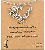 MJartoria Women's Filigree Cubic Zirconia MOM Heart Pendant Necklace
