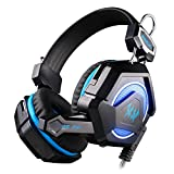 #4: Kotion Each GS210 Multicolor LED Headset with Mic for PC, Laptops (Black/Blue)
