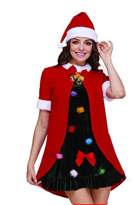 Erlion Red Cape Christmas Day Costumes Two For One Dress With Hat