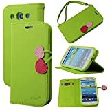 Case for Galaxy S3, By Ailun,Wallet Case,PU Leather Case,Cut,Credit Card Holder,Flip Cover Skin,(YellowGreen)
