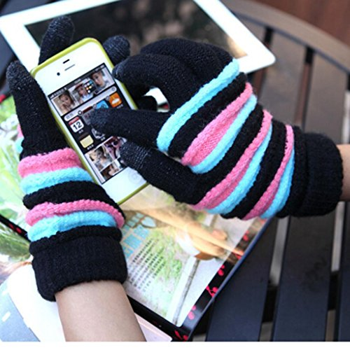 Lerway Lady Girls Women Gloves Winter Warm Wool Knitted Touch Screen Gloves for Touch Screen Cell Phone Tablet PC iPhone 6 Plus Google Nexus 7 5 HTC Samsung Galaxy S5 LG – Black + Pink