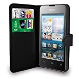 Black Flip Leather Wallet Case Card Holder Cover Pouch & Screen Protector for Huawei Ascend G510