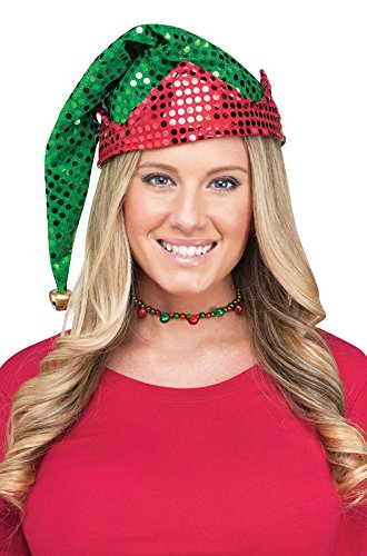 [Sequin Santa's Helper Elf Hat with Bell - Adult One Size] (Elf Hats For Adults)