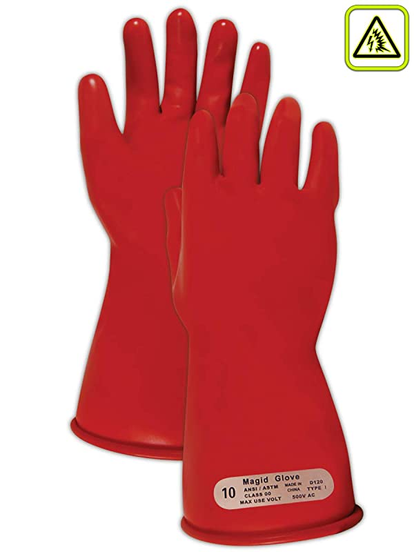 Magid M00 A.R.C. Natural Latex Rubber Class 00 Insulating Glove with Straight Cuff, Work, 11 Length, Size 10.5, Red (Color: Red, Tamaño: Size: 10.5 | 11 Long)