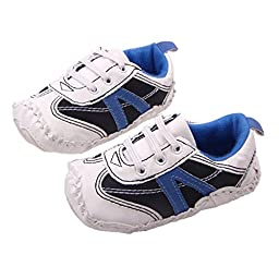 Baby Boy Lace-up Sneaker Non Slip Rubber Sole Early Walkers Breathable Crib Shoe Size L