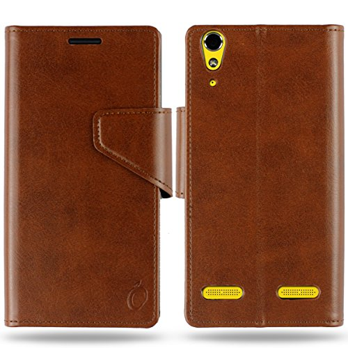 Cool Mango Business Flip Cover for Lenovo A6000 Plus / Lenovo A6000 - 100% Premium Faux Leather Flip Case for Lenovo A 6000 with 360 Degree Stitching, Magnetic Lock, Card & Currency Wallet - Limited Time Offer Pricing (Cocoa Brown)