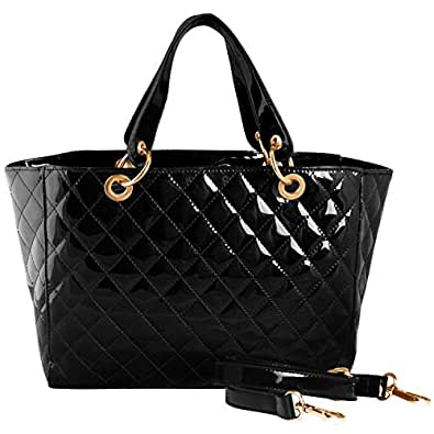 FASH Quilted Top Double Handle Tote Shoulder Handbag