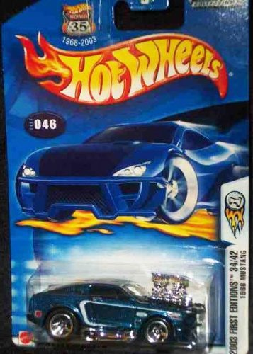 Hot Wheels 2003 First Editions Blue 1968 Ford Mustang 1:64 Scale Collectible Die Cast Car #046 - 1