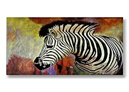 Neron Art - Hand painted Animal Oil Painting on Rolled Canvas for Living Room Wall Decor - Zebra 48X24 inch