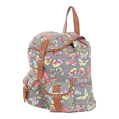 More4bagz Ladies Womens Owl Fox Horse Canvas Rucksack Backpack Shoulder School College Gym Bag W Faux Leather Trim (Grey / Butterfly)