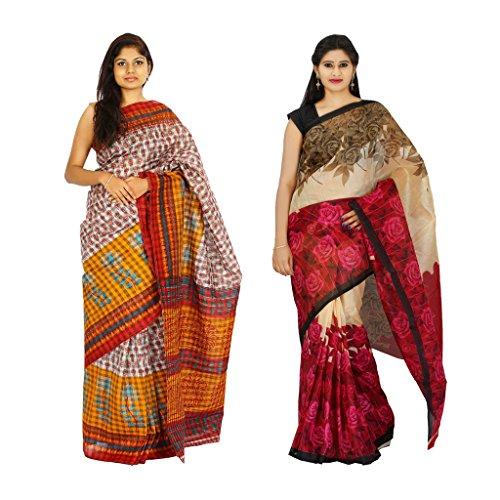 khaja Women's Cotton Multani Checks & Chapa Slik Fashion Sarees Combo of 2 (ID0036_ID0099)