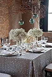 Silver Sequin Tablecloth, Silverwedding Tablecloth, Silver Glitter Tablecloth, Silver Sparklytablecloth,(48''*72''))