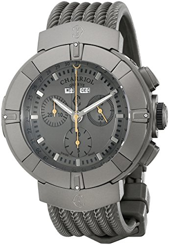 Charriol Celtica C44GM.174.004 44mm Stainless Steel Case Grey Rubber Anti-Reflective Sapphire Men's Watch