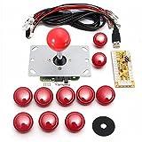 アーケードゲーム ジョイスティック MECO 基板タイプ ジョイスティックレバー コントロール ファイトスティック エンコーダ アーケードゲーム 部品 セット レッド 5V
