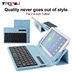 Bluetooth Keyboard Case, TabPow Blue Universal 7-8 Inch Tablet Portfolio Leather Case [With Detachable Bluetooth Keyboard] Smart Folding Cover for Samsung Galaxy Note 8.0 / Tab 2 7.0 / Tab 3 7.0 / Tab 4 7.0 / Tab 3 Lite 7 / Tab 3 8.0 / Tab 4 8.0 / Tab Pro 8.4 / Tab S 8.4 / Acer A1-810 / W3-810 / iPad Mini / New iPad Mini Retina Display / Asus Memo Pad HD 7 / Dell Venue 8 Pro / Nexus 7 / Nexus 7 HD / 7-8 Inch Tablets / Support Android / IOS / Windows