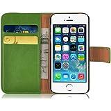JAMMYLIZARD | Ledertasche Retro Wallet Hülle für iPhone 5 und 5S, GRASGRÜN