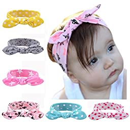 ZHW Baby Girl\'s Multi Colour Flower Hair Bow Baby Headbands (6 pack)