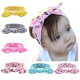 ZHW Baby Girl\'s Multi Colour Flower Hair Bow Baby Headbands (6 pack)