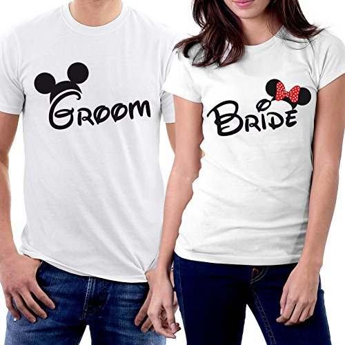 PicOnTshirt Groom & Bride MM Couple T-shirts Men L / Women M White