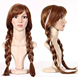 Free Hair Cap + Princess Frozen Snow Queen Elsa Cosplay Wig Elsa Wig Anna Wig (Brown)