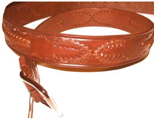 Western Rodeo Basket Weave Cowhide Leather Belt Tooled and Braided (38)
